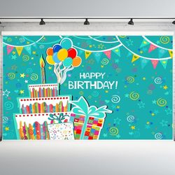 7x5ft Happy Birthday Photography Backdrop Cake Balloon Photo Background Photo Booth Props Thumbnail