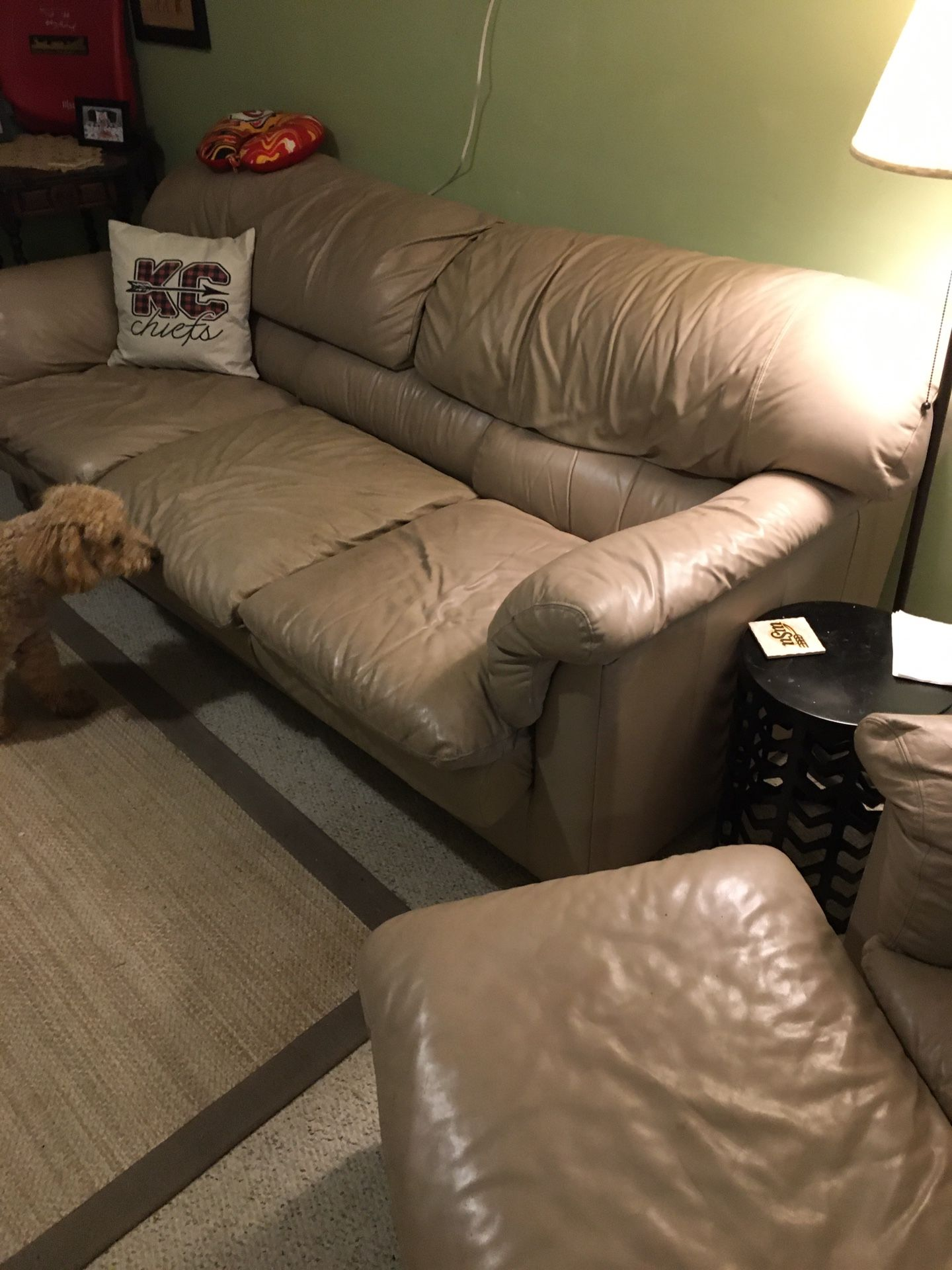 Sofa And Chair/w Ottoman all Soft Leather Beige