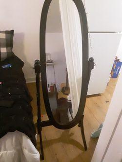Brand New Black Wooden Oval Swinging Mirror Thumbnail