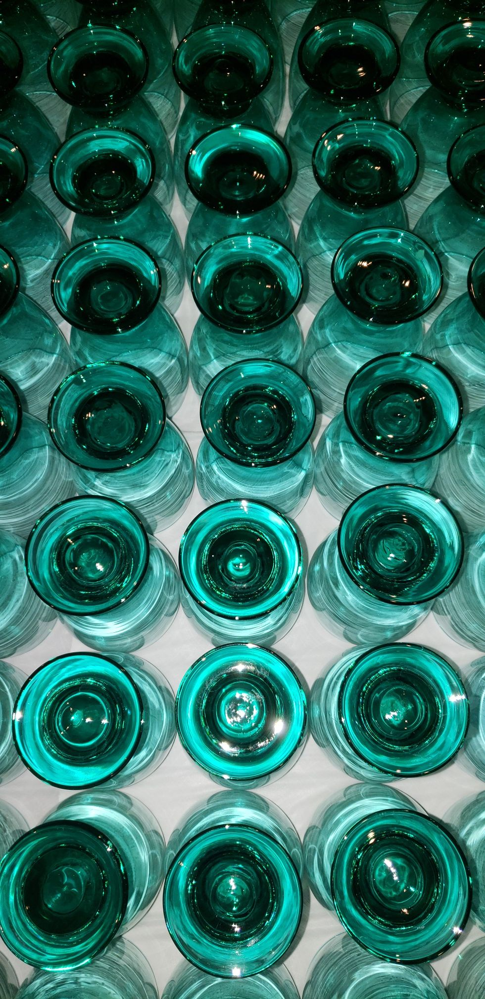Green and Blue Glass Cups