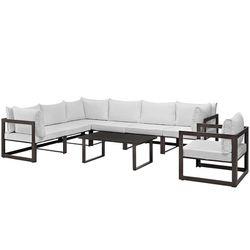 Fortuna 8 Piece Outdoor Patio Sectional Sofa Set, Brown White, EEI-1736-BRN-WHI-SET Thumbnail
