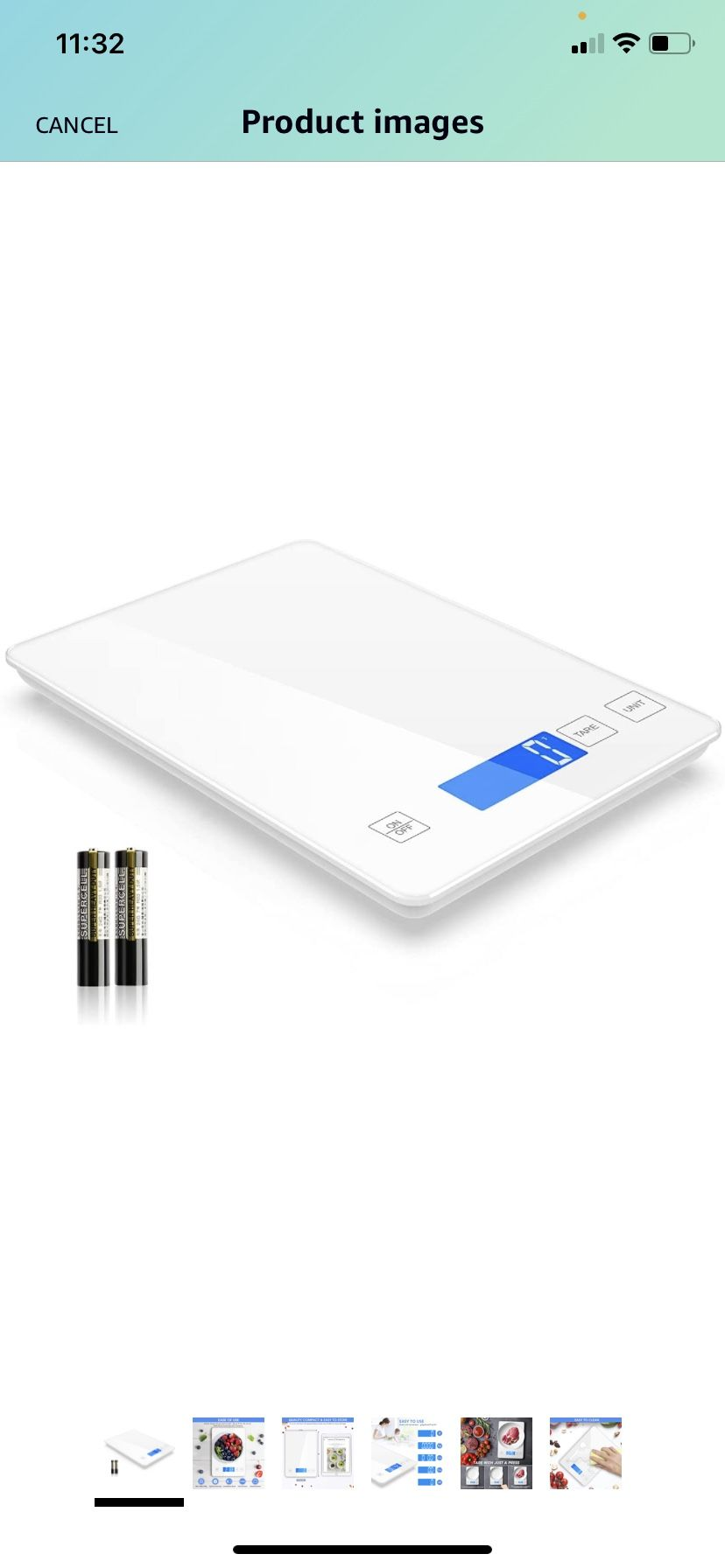 Nicewell Food Scale, 22lb Digital Kitchen White Scale Weight Grams and oz for Cooking Baking, 1g/0.1oz Precise Graduation,Tempered Glass Scale