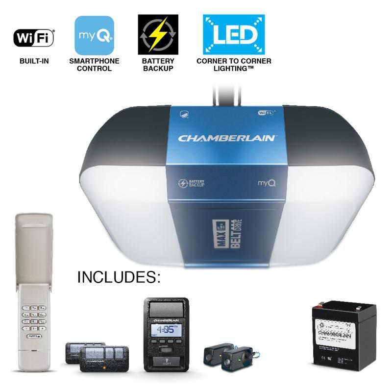 Chamberlain MyQ 1-1/4 hp Belt Drive WiFi Compatible Garage Door Opener - Case Of: 1;