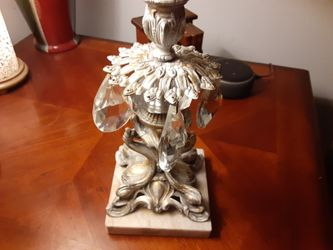 REALLY NEAT BRASS and Marble CANDLE HOLDER WITH TEAR Drops THIS IS Heavy VERY NICE Thumbnail