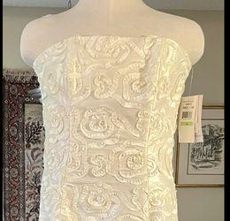 NWT Jessica McClintock Strapless Ribbon Appliqué wedding dress! Size 4 Thumbnail