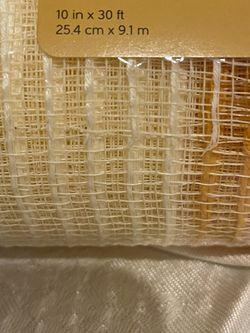 "10"" DECO MESH Tan, Tangerine & Cream STRIPE Woven Poly  10""W X 30Ft (10yards) Thumbnail"