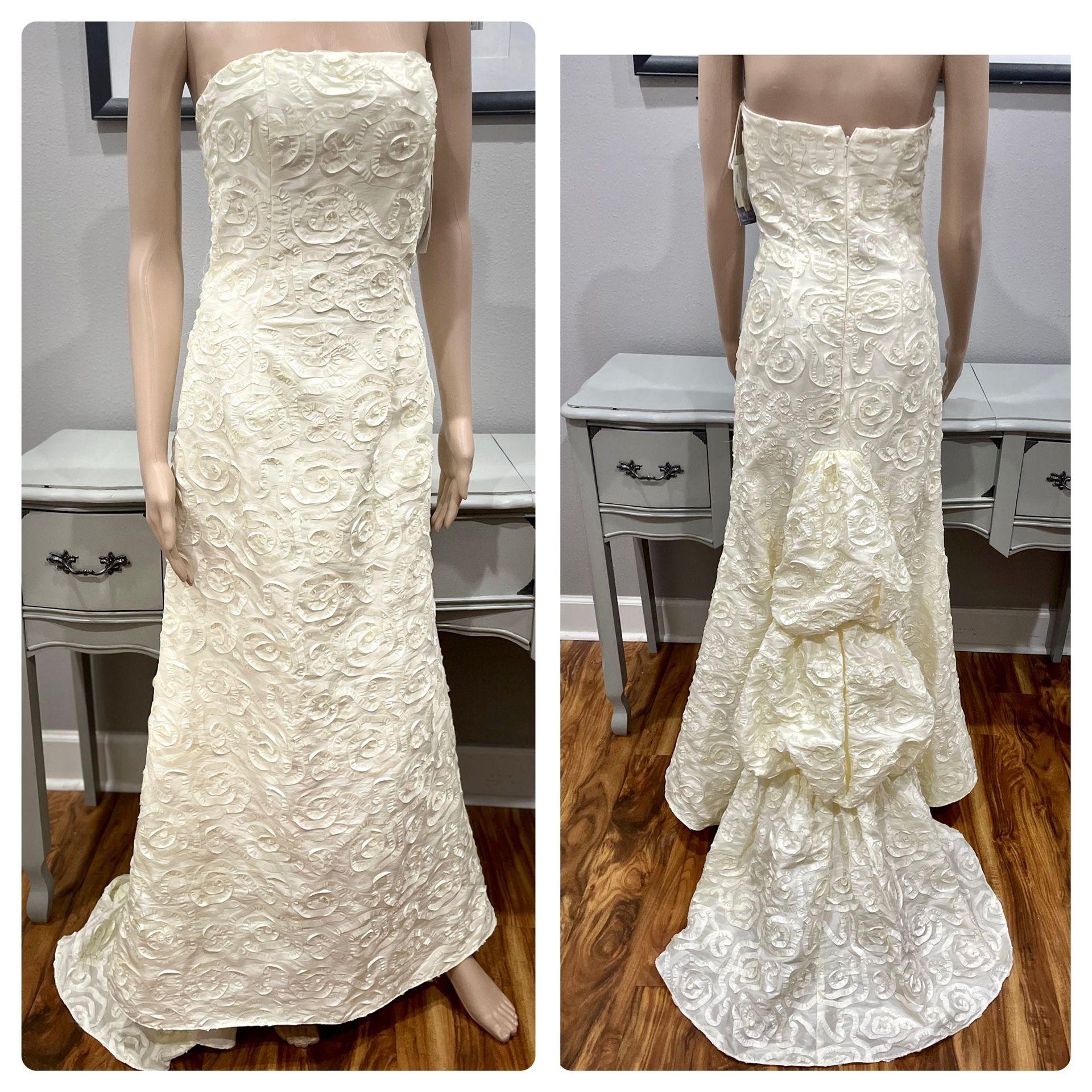 NWT Jessica McClintock Strapless Ribbon Appliqué wedding dress! Size 4