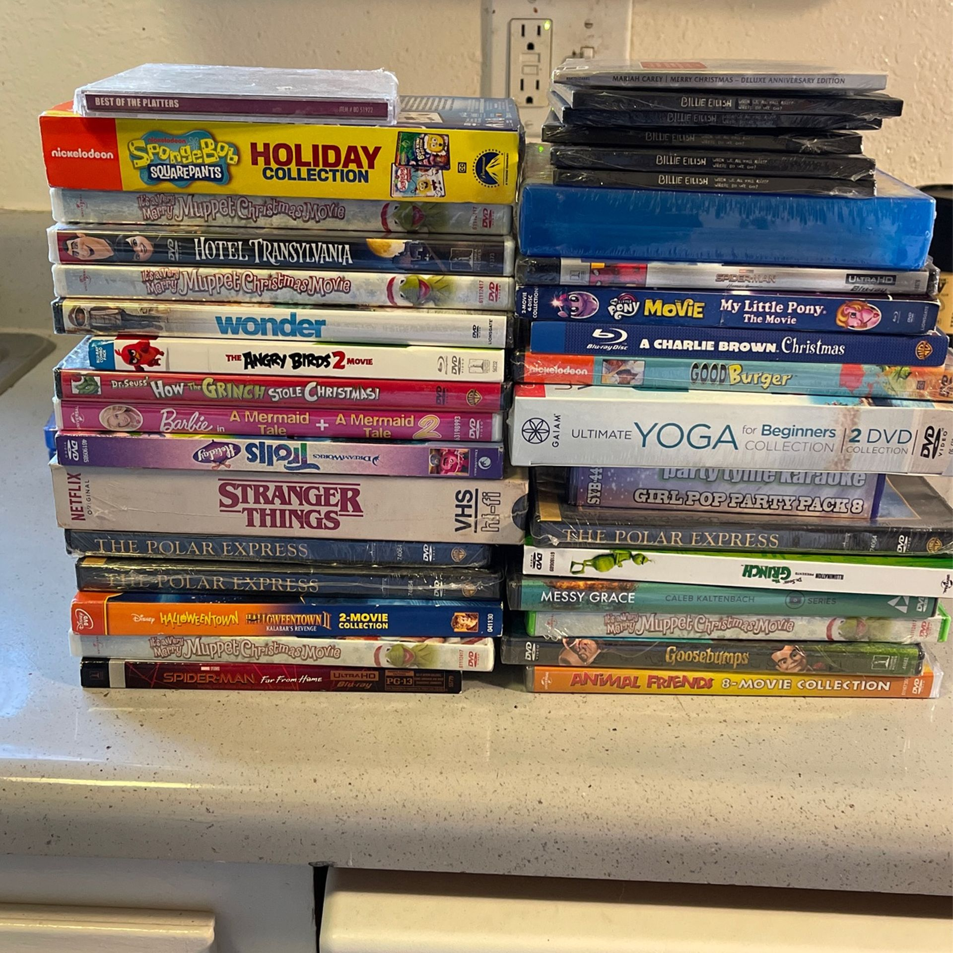 OER 25 BRAND NEW DVDS AND CDS MUST GO TODAY! HOLIDAY MOVIES POLAR EXPRESS, TROLLZ, STRANGER THINGS, GRINCH