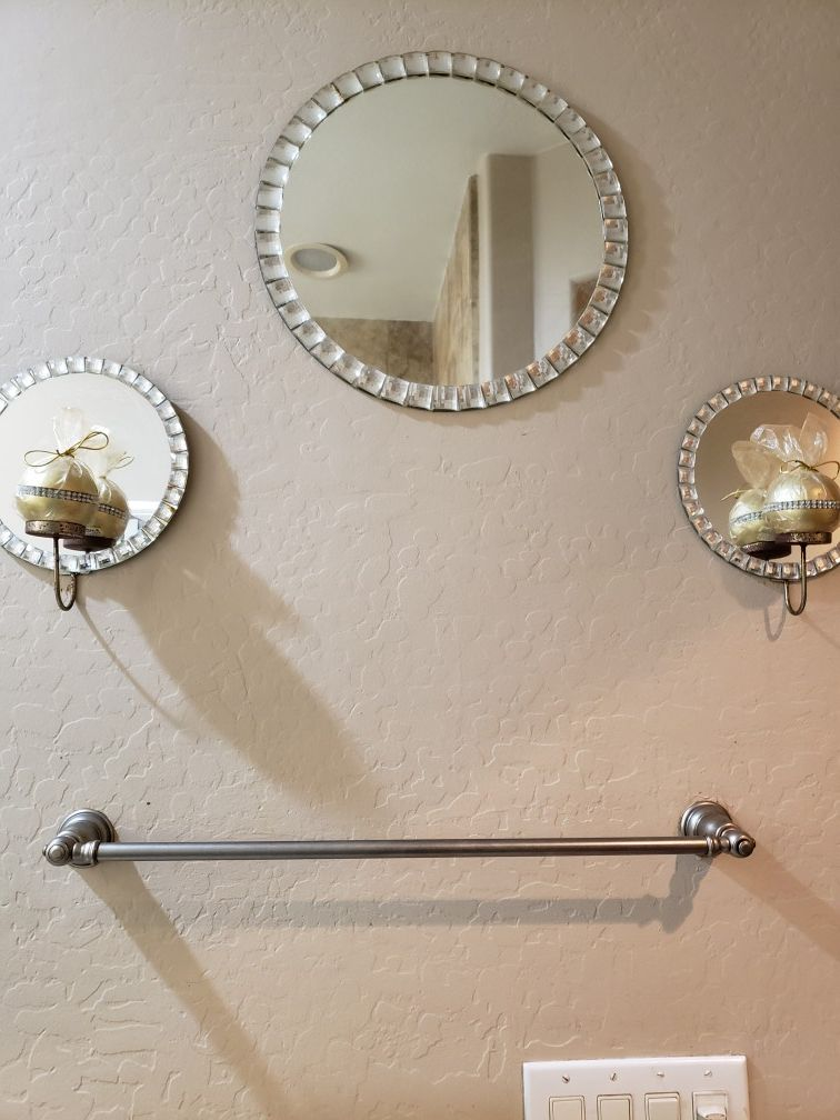cute mirror and candle set . candles have rhinestone bands .