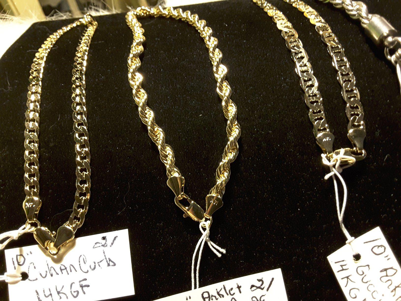 "10"" Bracletes/Anklets gold & StainlessSteel 20$-21$"