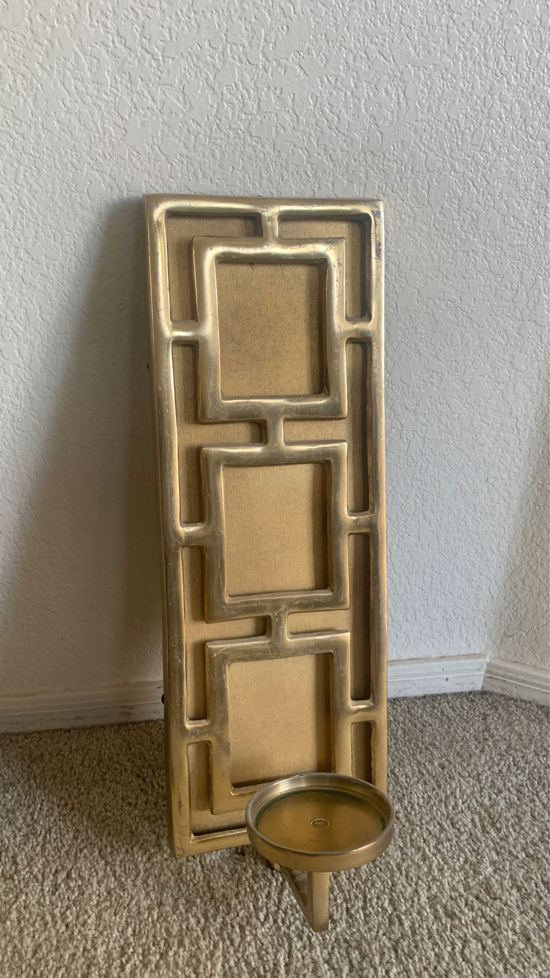 Gold metal candle holder -wall decor