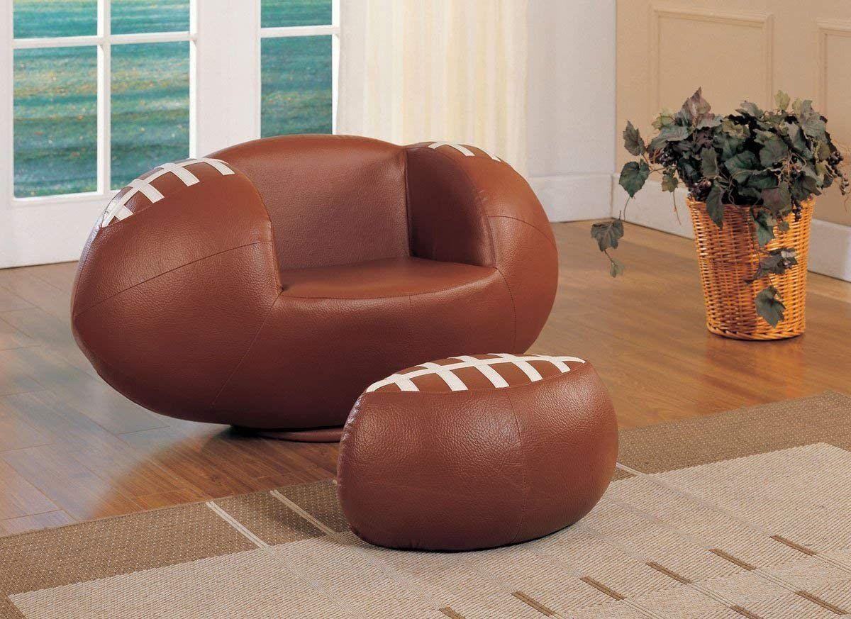 2pc Football Chair and Ottoman Set