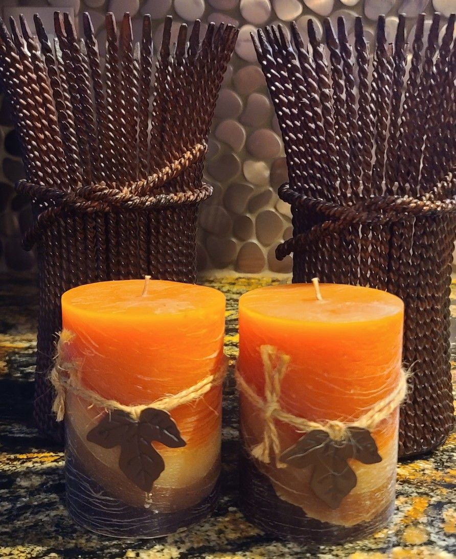Beautiful Set Of Harvest Candle Holders w/Candles