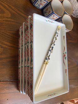 5 piece sushi set. Beautiful chopsticks. Authentic Japanese. Thumbnail