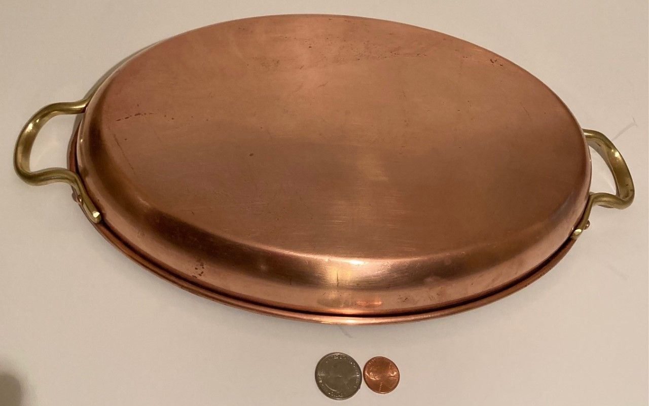 """Vintage Copper and Brass Fish Frying Pan, Sauce Pan, 12 1/2"""" Handle to Handle, and 12"""" x 8"""" Pan Size, Made in Portugal, Quality, Jazmyn Design, Fish"""