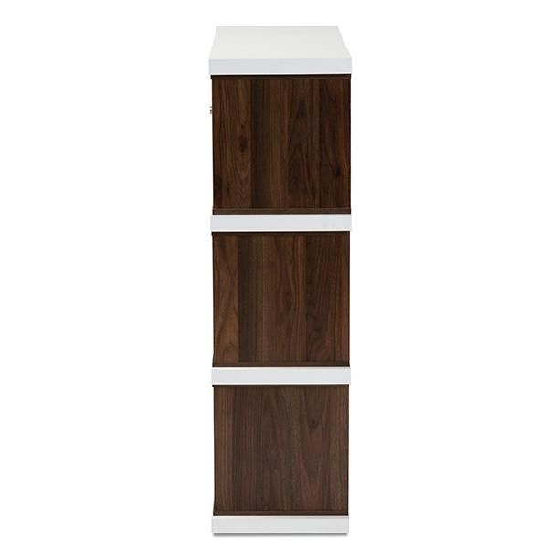 Rune Modern and Contemporary Two-Tone White and Walnut Brown Finished 2-Drawer Bookcase