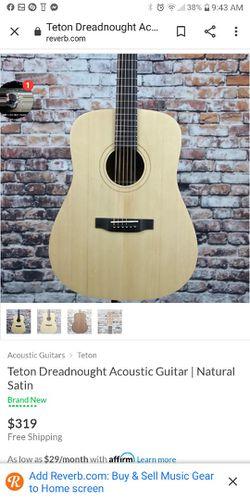 New Teton Acoustic Guitar Natural Finish Thumbnail