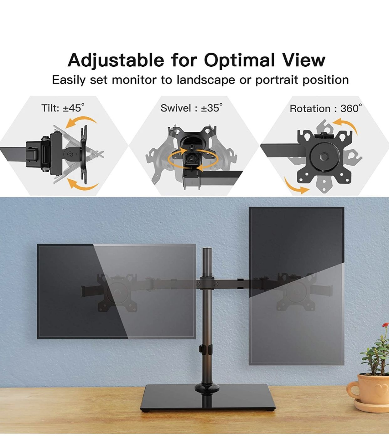 HUANUO Dual Monitor Stand - Free Standing