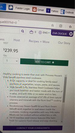 Princess House 5-play stainless Steel Cookware 4-QT casserole Thumbnail