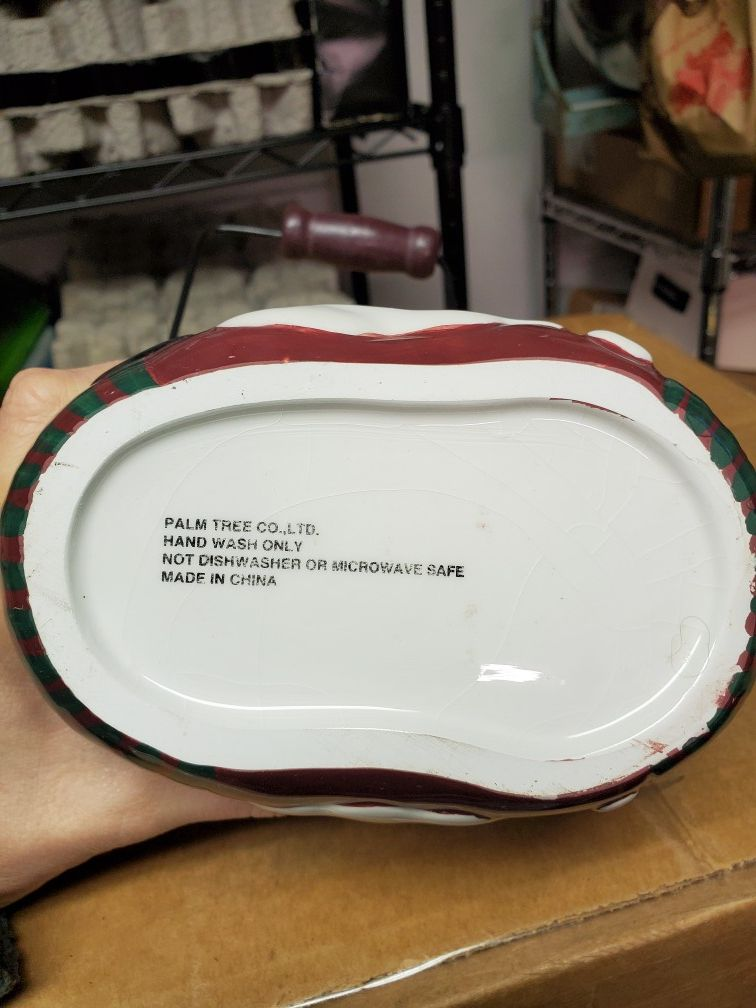 Holiday Christmas Santa Claus Ceramic Stocking Decor Container