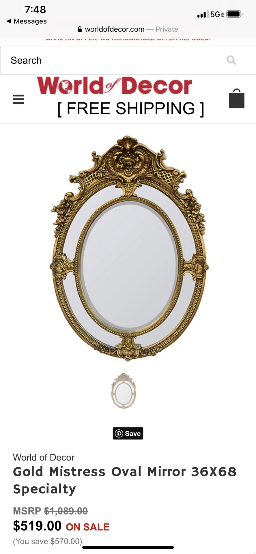 World Of Decor Gold Mistress Oval Mirror 36X68 Specialty Used To Stage Model Home Ornate Beveled Excellent Mint Condition Used To Stage A Model H