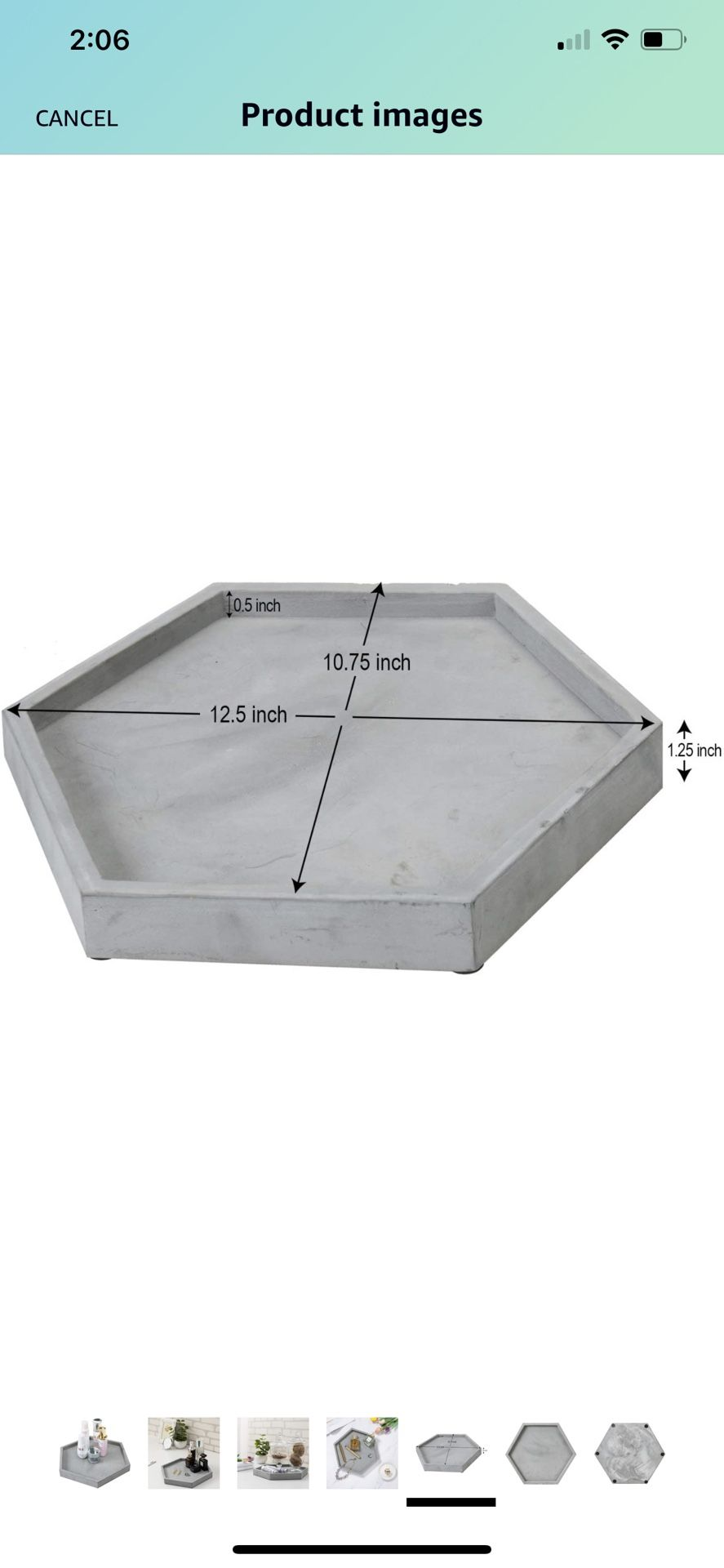 MyGift Modern Gray Concrete Hexagonal Decorative Display Bathroom Vanity Tray