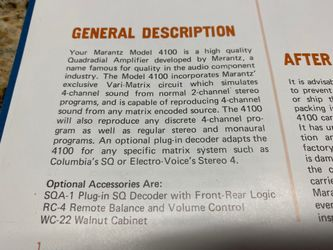 Rare Marantz 4100 Quad Amplifier Mint Thumbnail