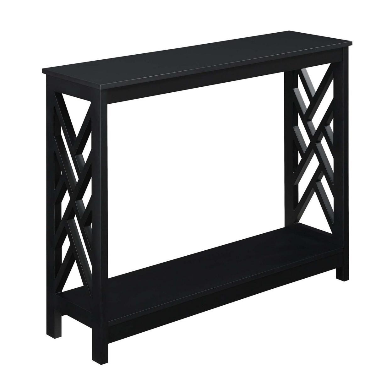 Titan Console Table with Shelf, Black