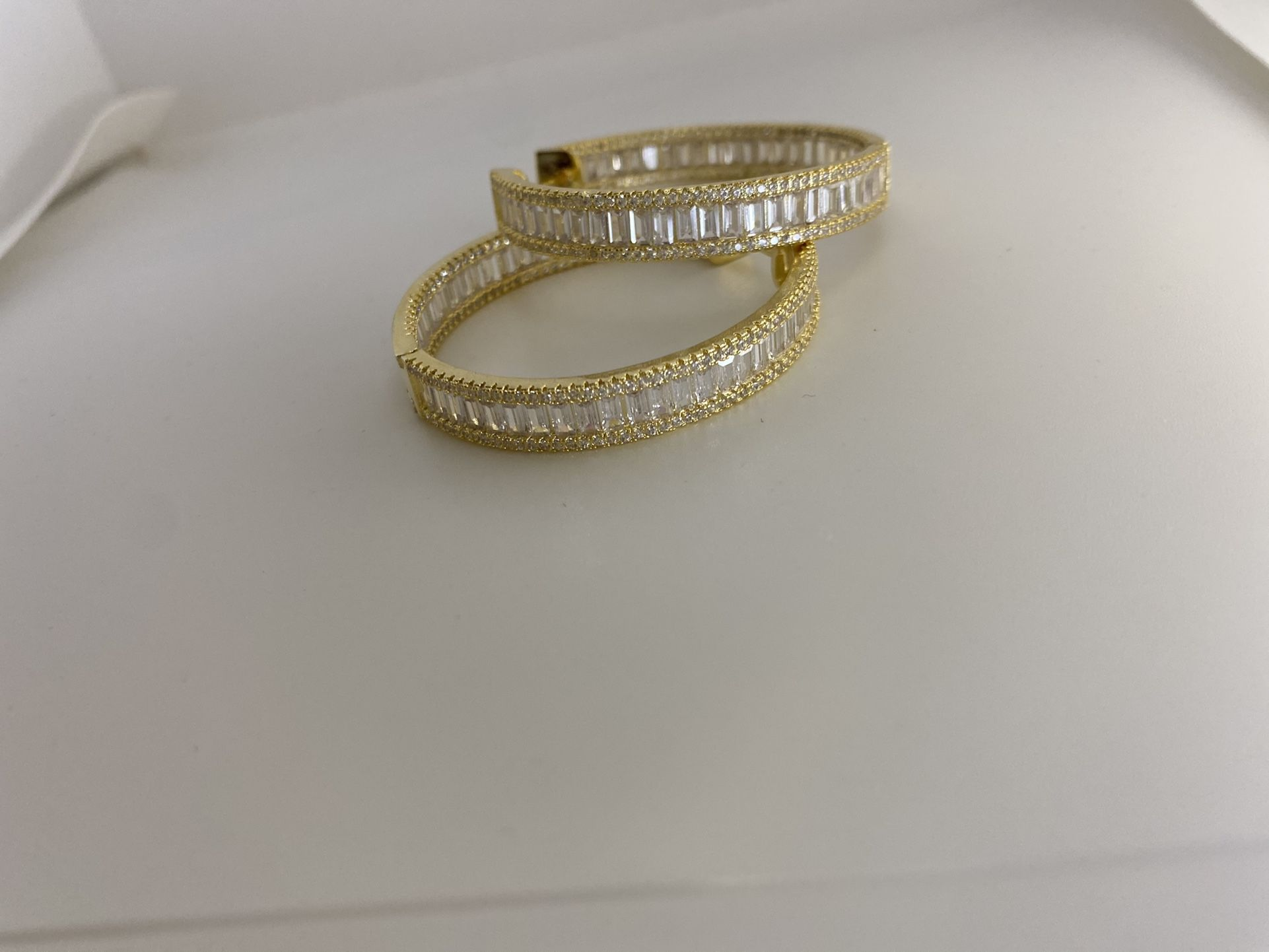 Silver/ Gold Baguette Hoops