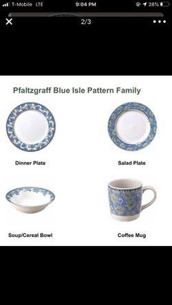 Pfaltzgraff complete set 12 plates/12 cups/12 bowls/several serving plates Thumbnail