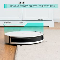 Costway Robot Vacuum Cleaner 2000Pa Strong Suction Filter Auto Self-Charging White Thumbnail