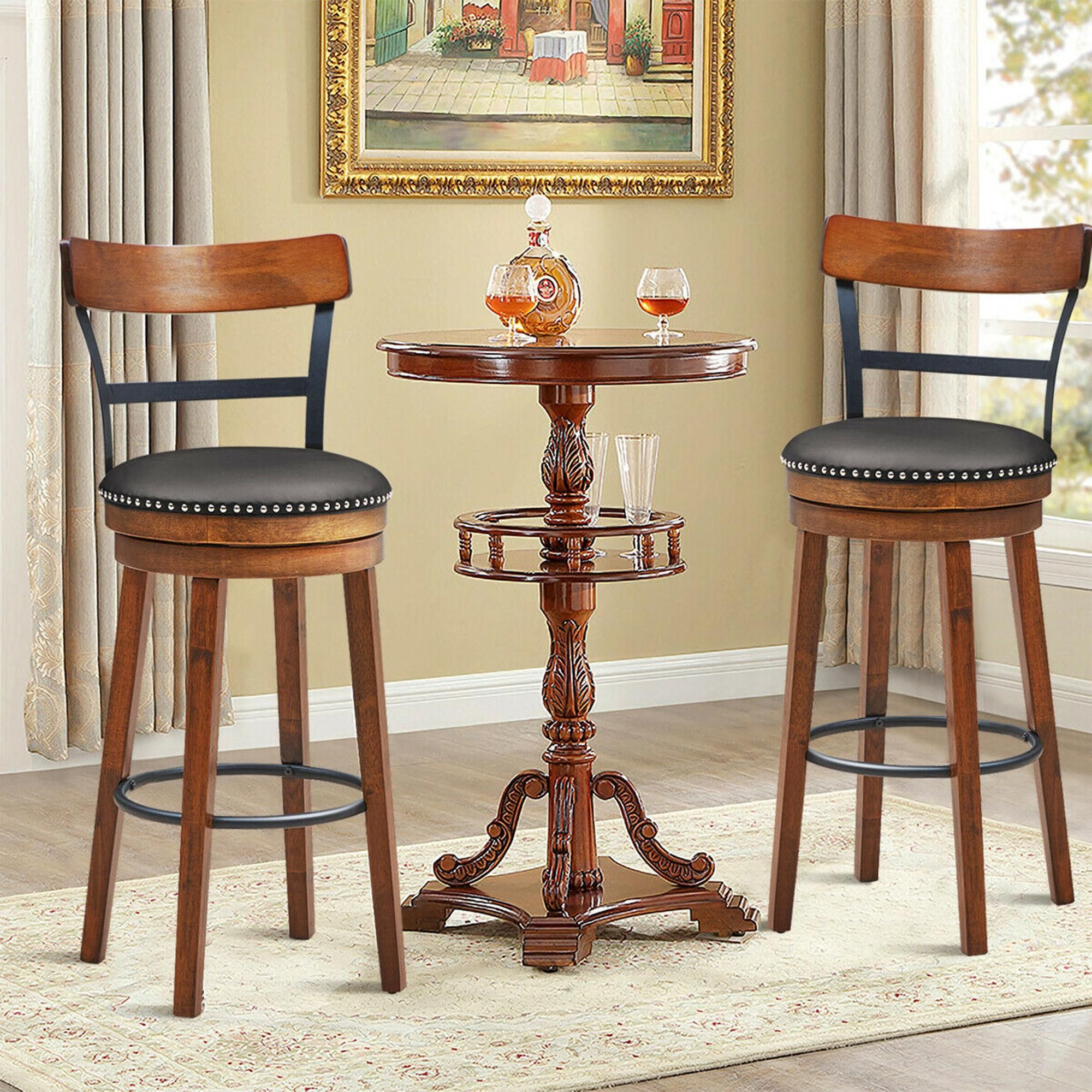 Costway Set of 2 BarStool 30.5'' Swivel Pub Height Dining Chair with Rubber Wood Legs