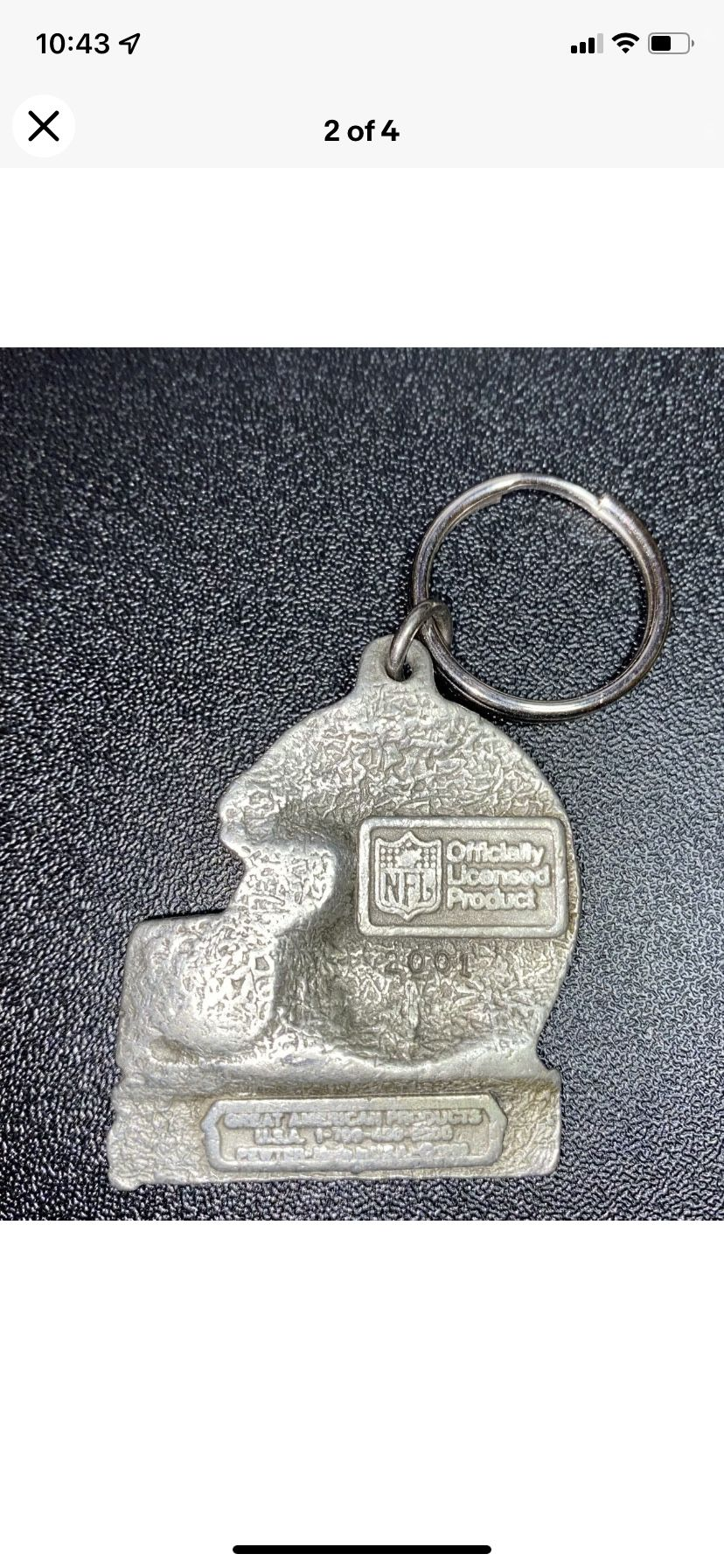 Vintage Oakland Raiders Helmet Key Chain. Made in USA Rare. Pewter