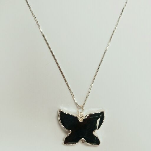 Polished Quartz Butterfly Pendant On Sterling Silver Necklace
