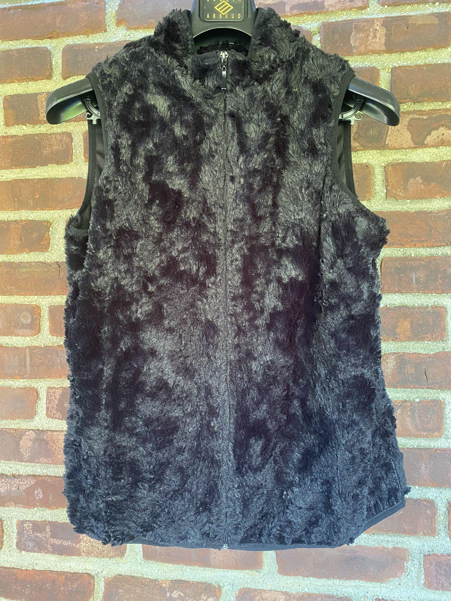 Laura Scott M Faux Fur Black Vest Zipper