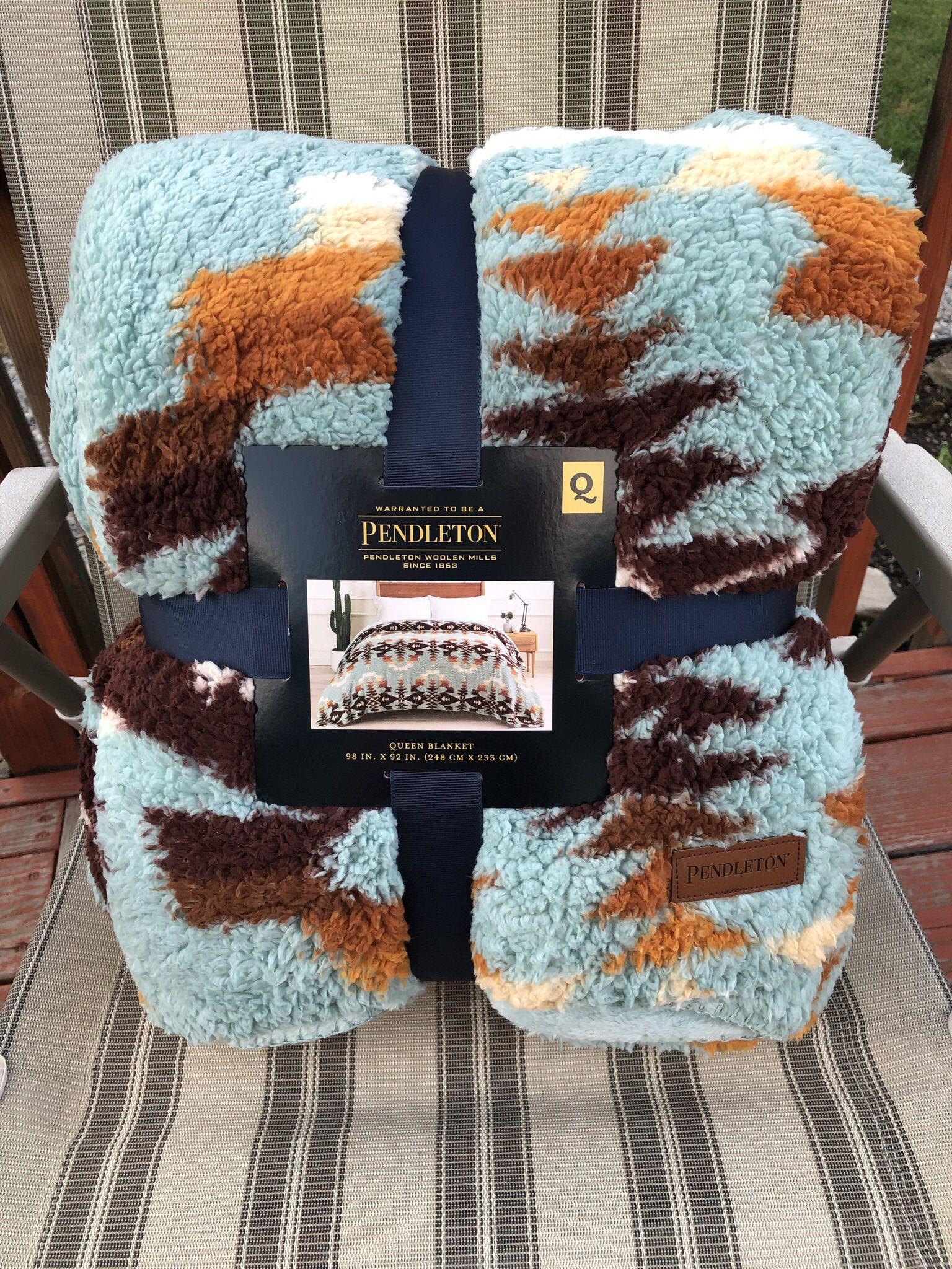 🌟🌟 NEW Pendleton Sherpa Fleece Blanket Queen Size Avra Valley Teal Southwest 98 x92🌟🌟