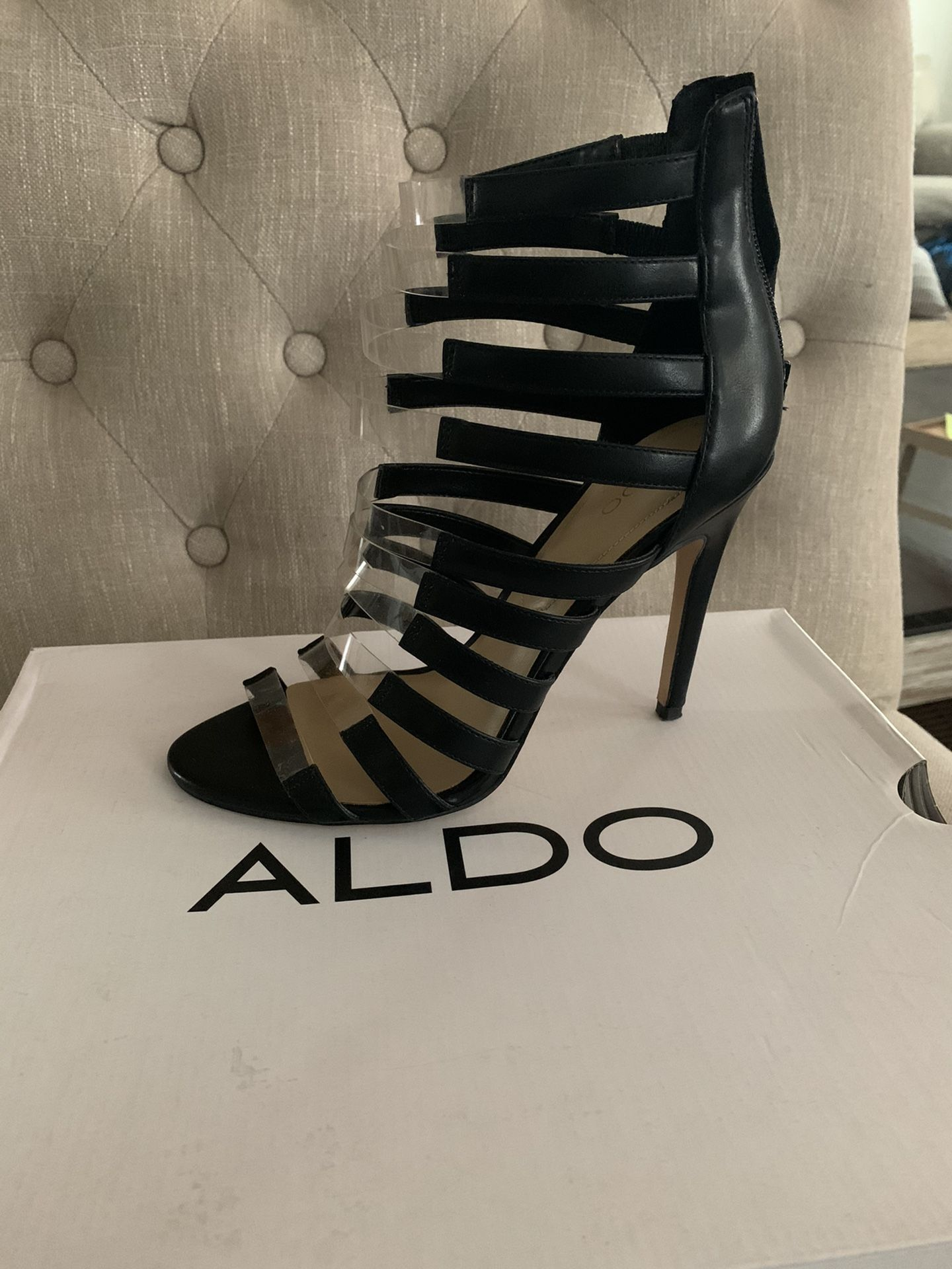 Black And Clear Aldo Heels