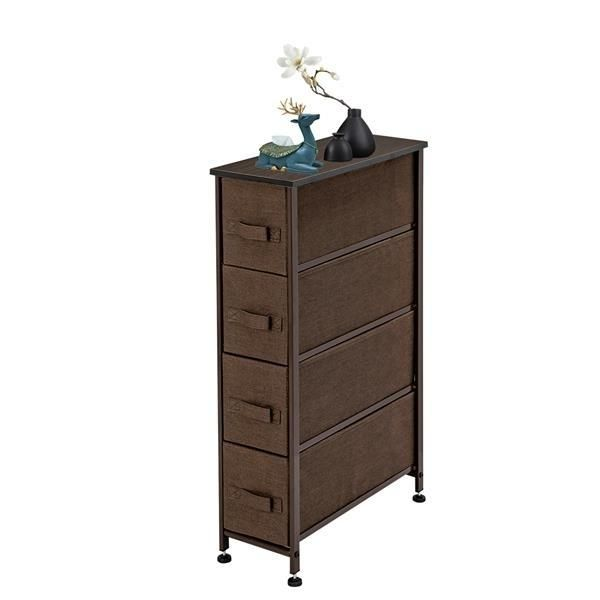 """Narrow Dresser, Vertical Storage Unit With 4 Fabric Drawers, Metal Frame, Slim Storage Tower, 7.9"""" Width, For Living"""