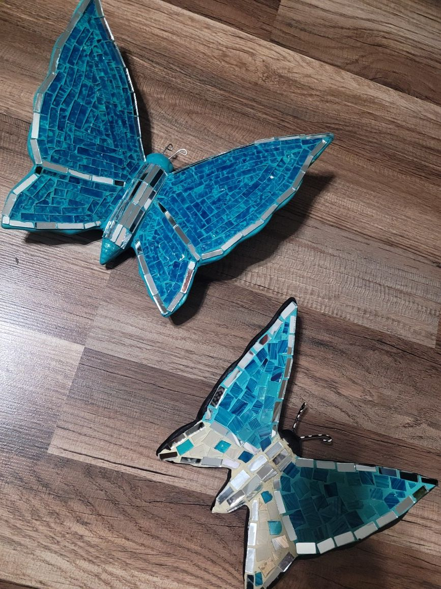 New Turquise Fancy Gypsum Butterflies Wall Decor Hand Crafted 8 inches and 10 inches