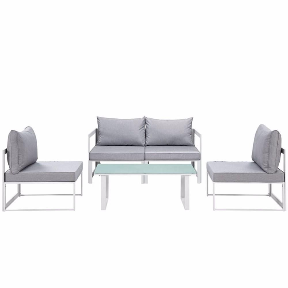 Fortuna 5 Piece Outdoor Patio Sectional Sofa Set, White Gray