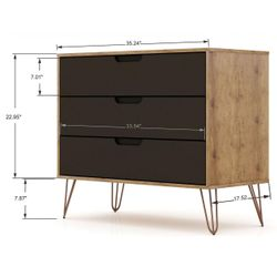 Rockefeller Mid-Century- Modern Dresser with 3- Drawers in Nature and Textured Grey Thumbnail