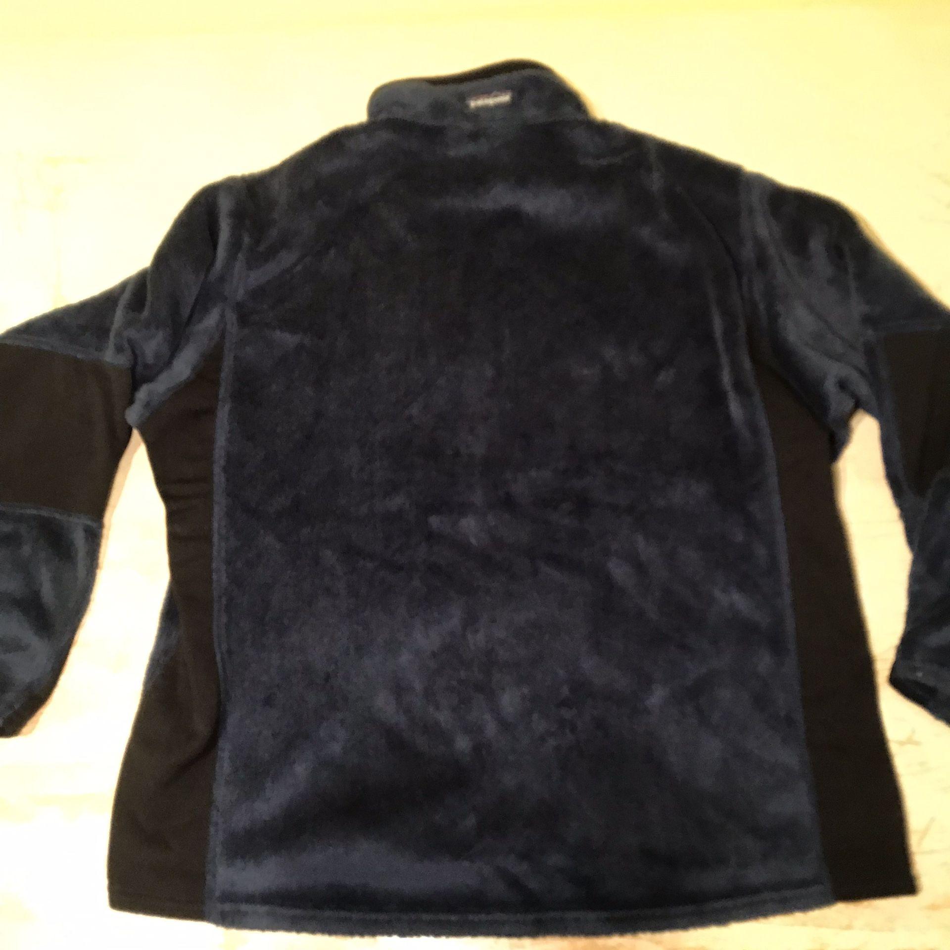 Patagonia Furry Fleece 1/4 Zipped Blue Jacket Sz Large
