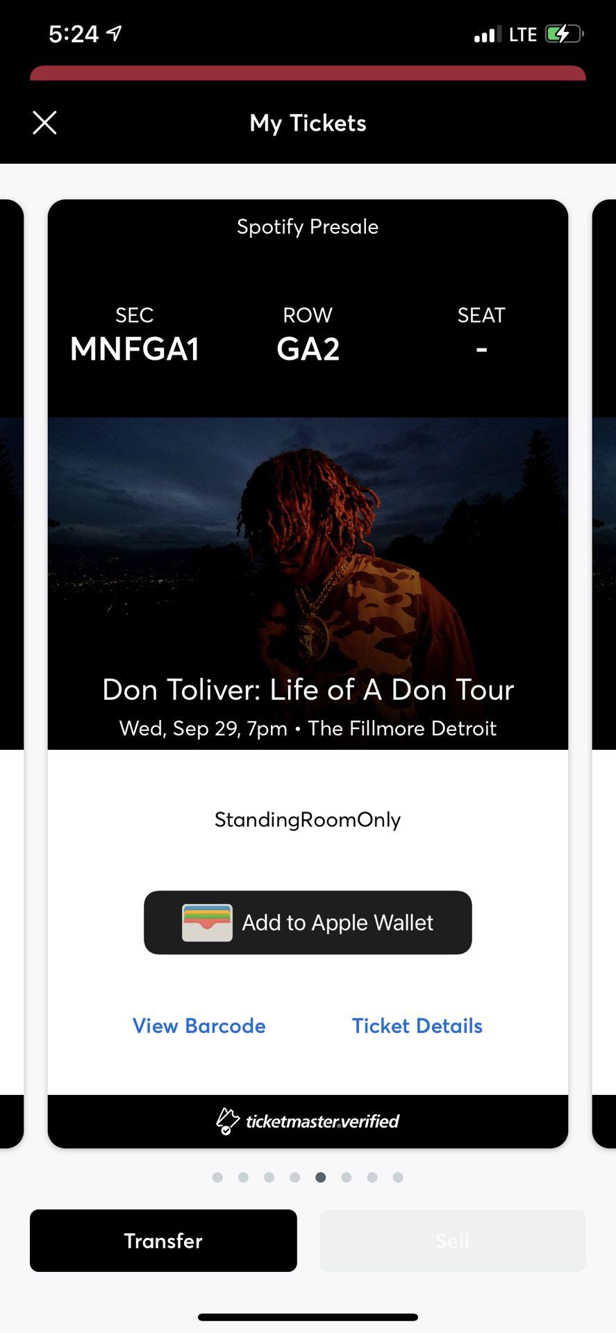 Don Toliver Concert Ticket In Detroit