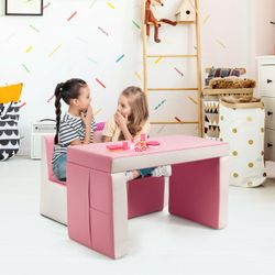 Gymax Multi-functional Kids Sofa Table Chair Set 2 Seat Couch Furniture W/Storage Box Thumbnail