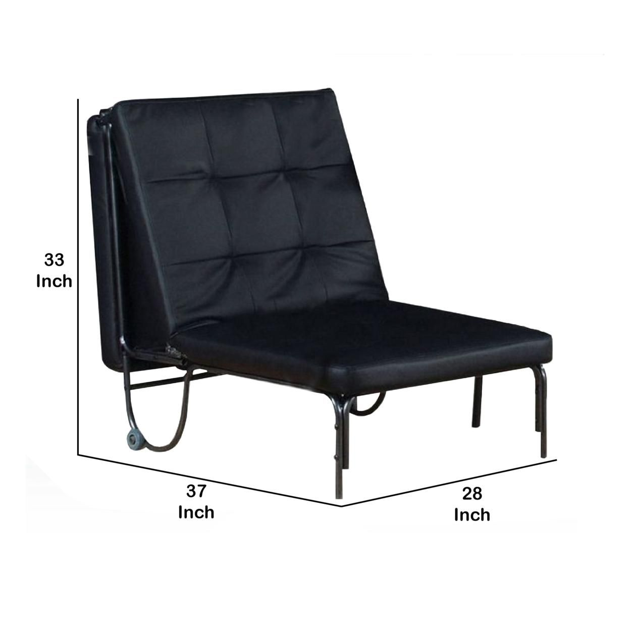 Saltoro Sherpi Adjustable Metal Futon with Faux Leather Upholstered Tufted Details and Casters, Black