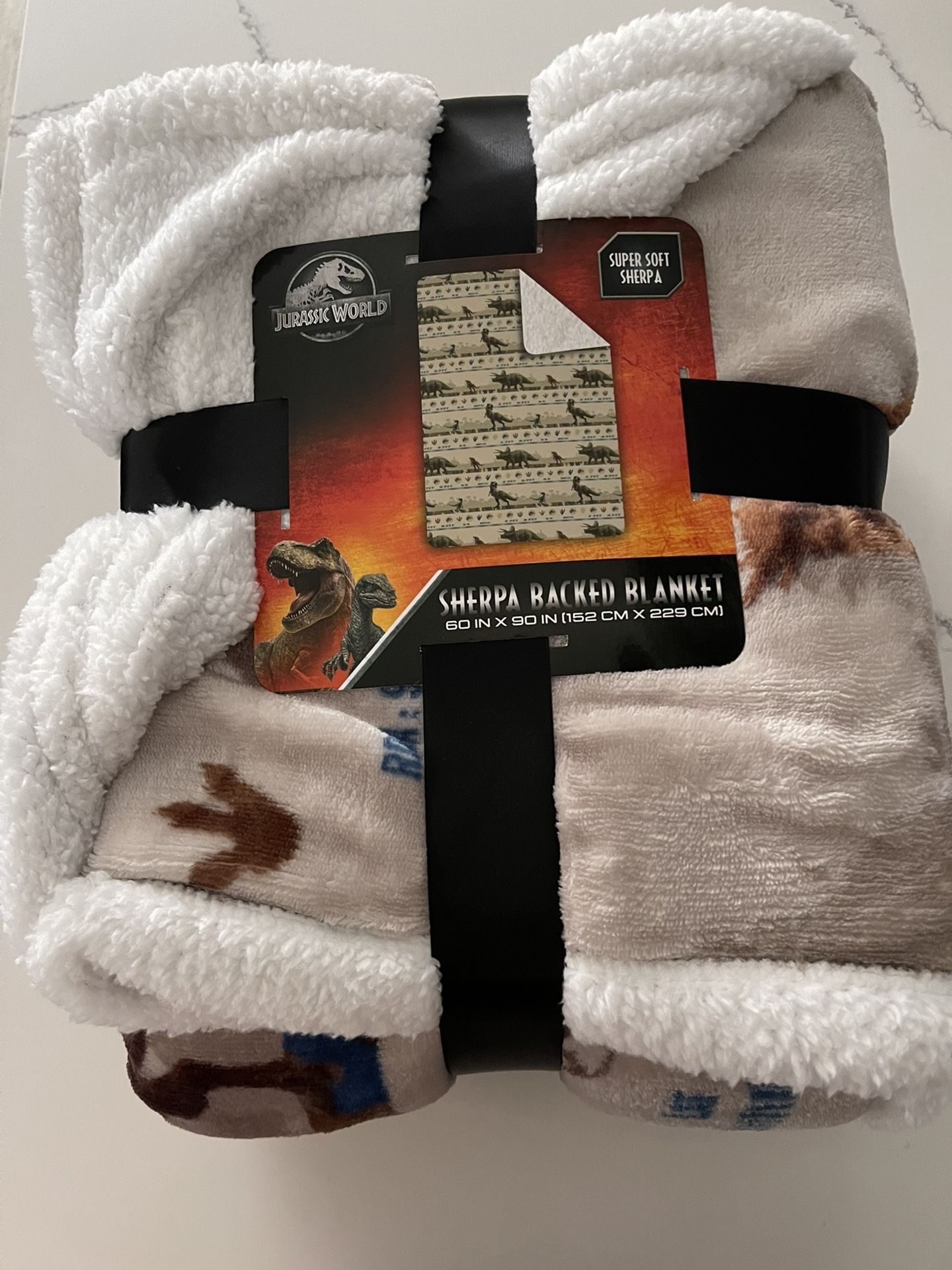 Sherpa Blanket Jurassic World Dinosaur