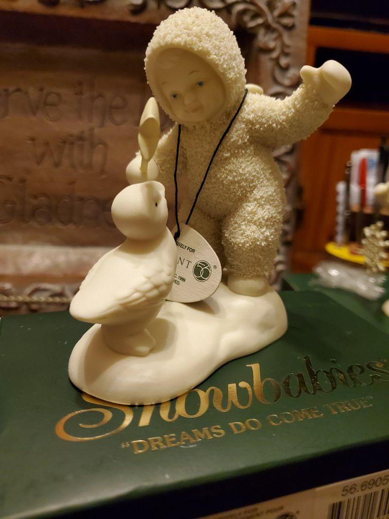 Figura de porcelana antigua de snowbabies nueva