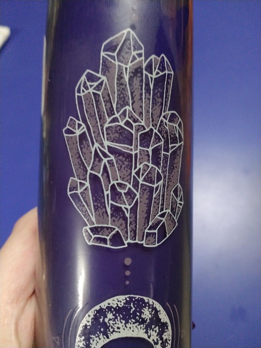 Purple Prayer Candle With Crystals And Moon Pattern