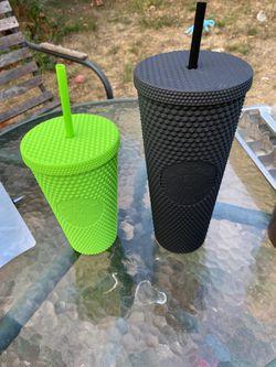 Starbucks Fall 2021 Black Tumbler (24oz) And Lime Green (16oz) Thumbnail