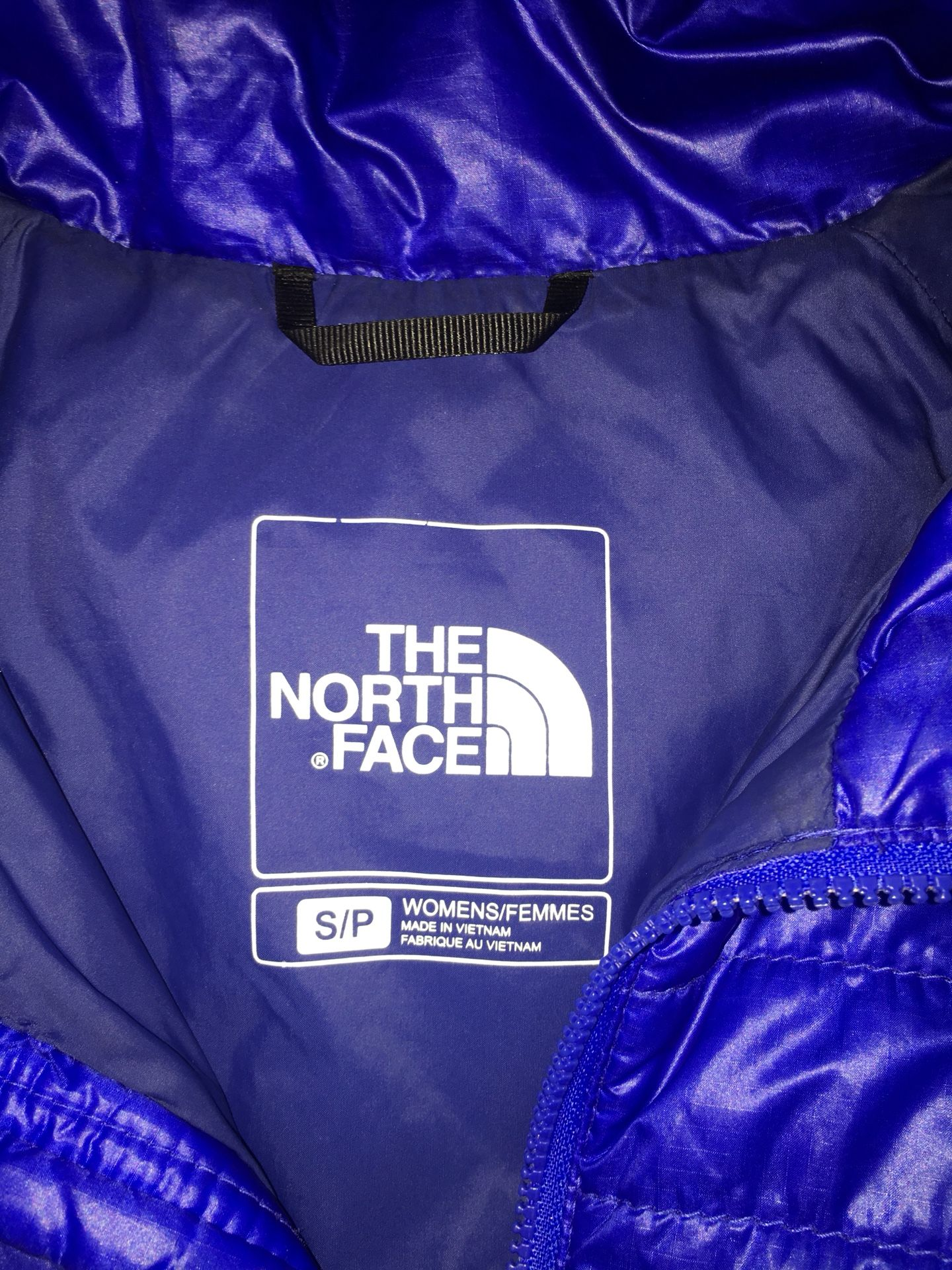 blue north face jacket